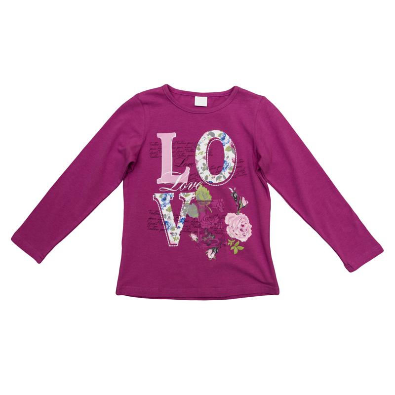 футболка для девочек. 362065362065Уютная хлопковая футболка с длинными рукавами. Украшена милым принтом и нежным кружевом.