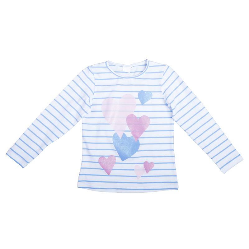 футболка для девочек. 362066362066Уютная хлопковая футболка в полоску с длинными рукавами. Украшена ярким принтом с сердечками и сверкающим глиттером.