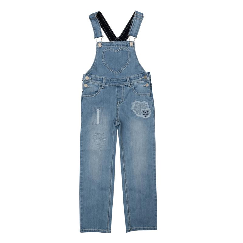 Полукомбинезон для девочек. 362077362077Стильный джинсовый полукомбинезон с модными потертостями. Украшен аппликациями из джинсовой ткани. По бокам застегивается на металлические кнопки, есть шлевки для ремня. Бретели регулируются по длине. Есть 4 функциональных кармана.