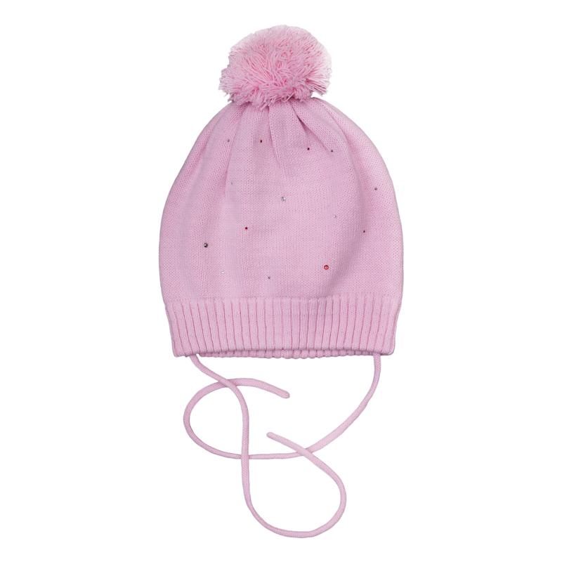 Шапка для девочек. 362080362080Уютная шапочка из вязаного трикотажа. Украшена забавным помпоном и сверкающими стразами. Есть удобные завязки.