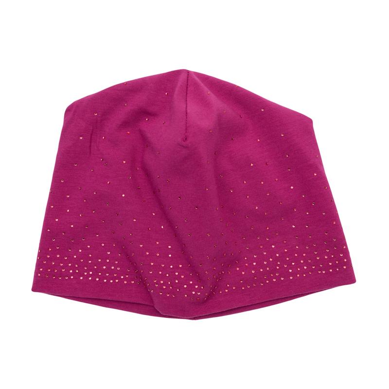 Шапка для девочек. 362082362082Уютная хлопковая шапочка модного размера oversize. Украшена россыпью сверкающих страз в тон.