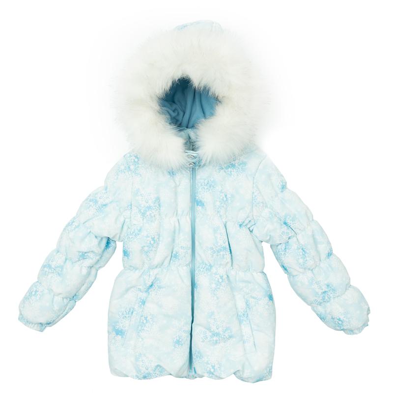 Куртка для девочек. 362103362103Теплая куртка для девочки. Рукава и пояс на резинке. Застегивается на молнию, есть два функциональных кармана на кнопках. Капюшон украшен искусственным белым мехом. Удобно отстегивается.
