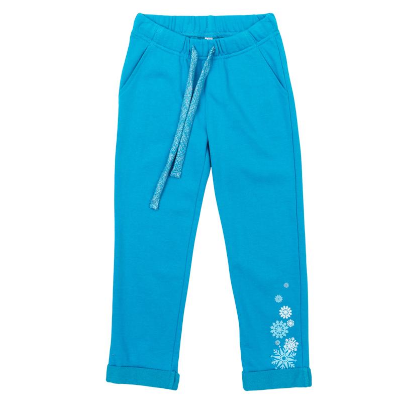 Брюки для девочек. 362116362116Уютные брюки из футера. Пояс на резинке, дополнительно регулируется шнурком. Модные отвороты снизу.