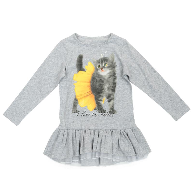 Туника для девочек. 362168362168Нежная футболка с длинными рукавами. Украшена фотопринтом с котенком и трикотажной юбочкой с сетчатой подкладкой, которая создает эффект легкости.