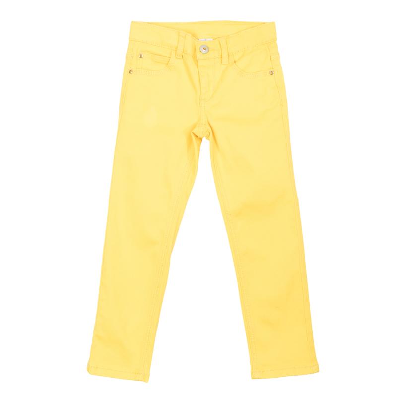 Брюки362171Яркие твиловые брюки лимонного цвета. Застегиваются на молнию и пуговицу, есть шлевки для ремня. Стильная отделка металлическими клепками со сверкающими стразами.