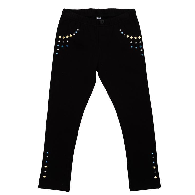 Брюки для девочек. 362174362174Уютные брюки из футера с начесом. Украшены цветными метализированными стразами. Пояс на мягкой резинке.