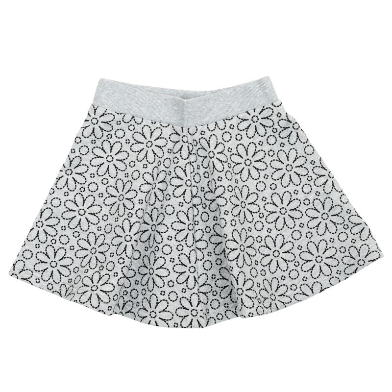 Юбка362177Стильная юбка-солнце выполнена из мягкого футера с нежным цветочным принтом. Пояс на мягкой резинке.