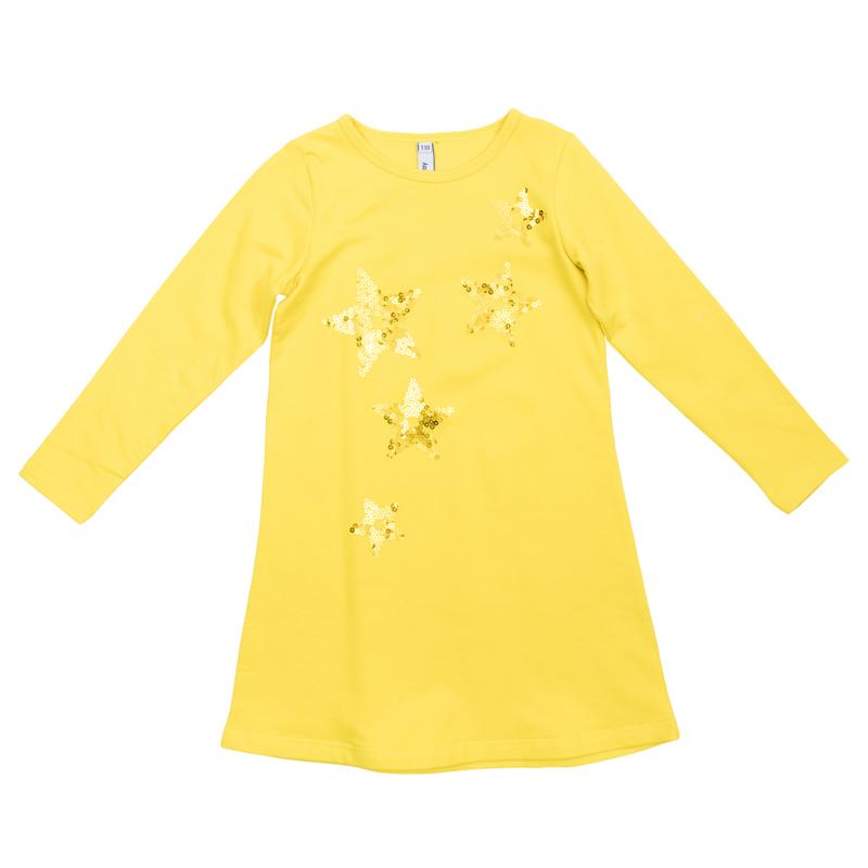 Платье для девочек. 362178362178Яркое хлопковое платье с длинными рукавами. Украшено звездочками из сверкающих страз. Застегивается на кнопки на спинке.