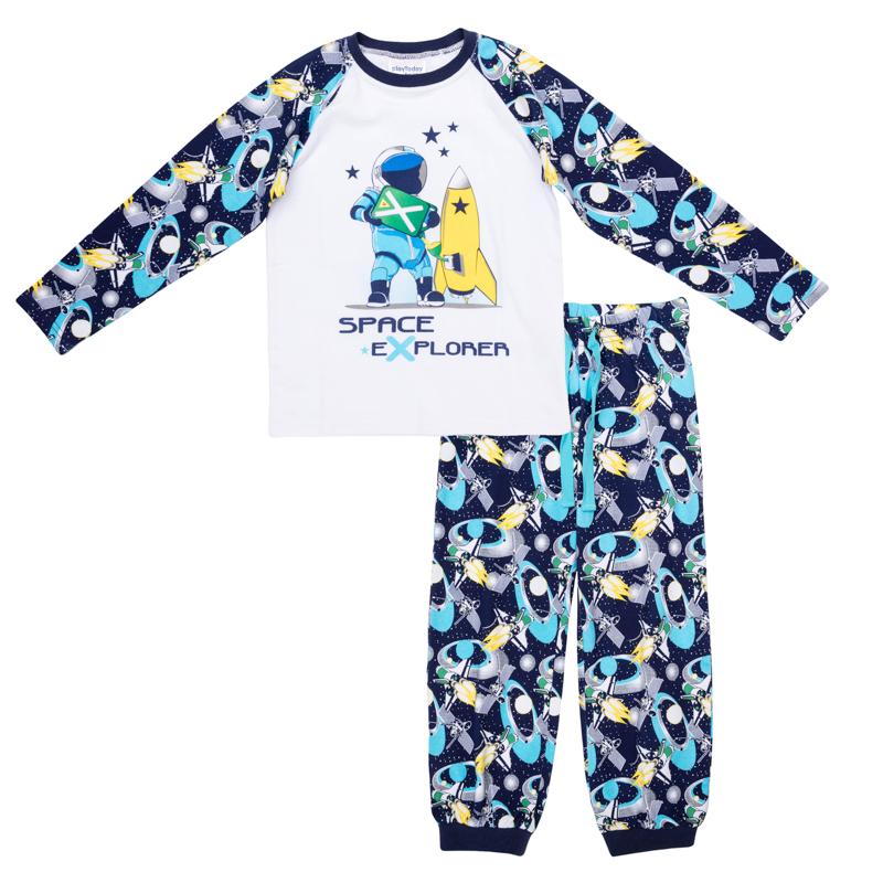 Комплект одежды для мальчиков. 365001365001Комплект из футболки с длинными рукавами и брюк. Украшены стильными принтами на космическую тему. На воротнике футболки эластичная бейка. Низ штанишек и пояс на резинке, дополнительно регулируется шнурком.