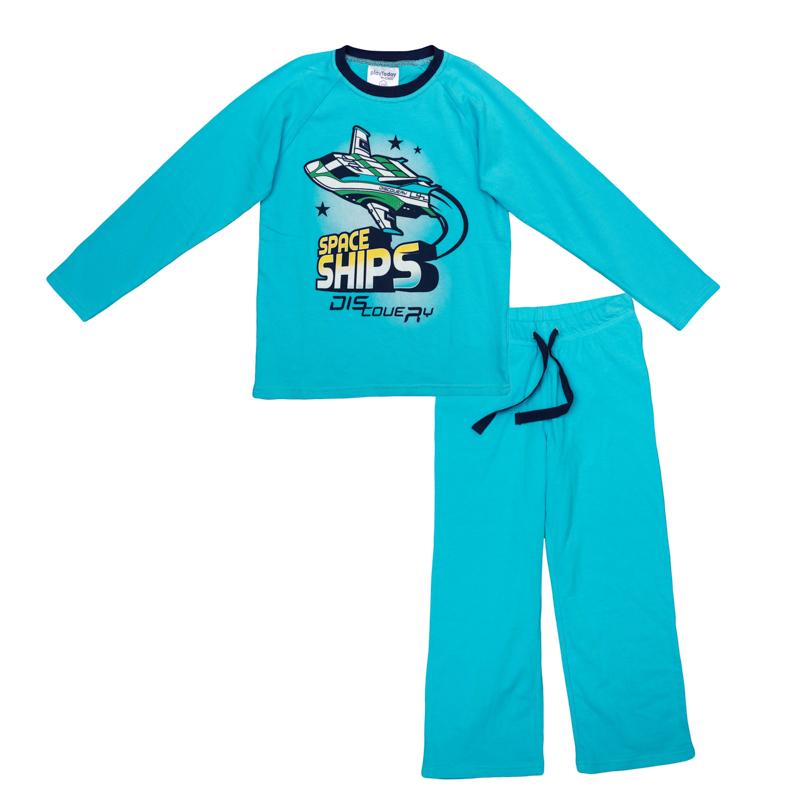 Комплект одежды для мальчиков. 365002365002Яркий комплект из футболки с длинными рукавами и брюк. Футболка украшена стильным принтом на космическую тему. На воротнике эластичная бейка. Пояс на резинке, дополнительно регулируется шнурком.