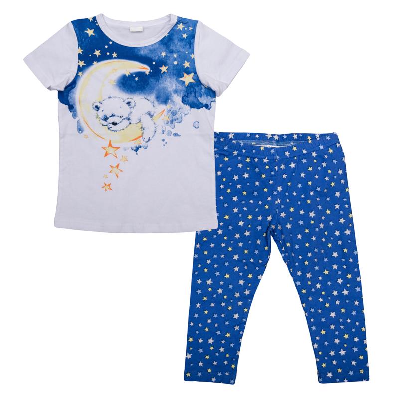 Комплект одежды366001Хлопковый комплект из футболки с короткими рукавами и леггинсов. Футболка украшена воным принтом с медвежонком. Леггинсы - узором со звездочками. Пояс на мягкой резинке.