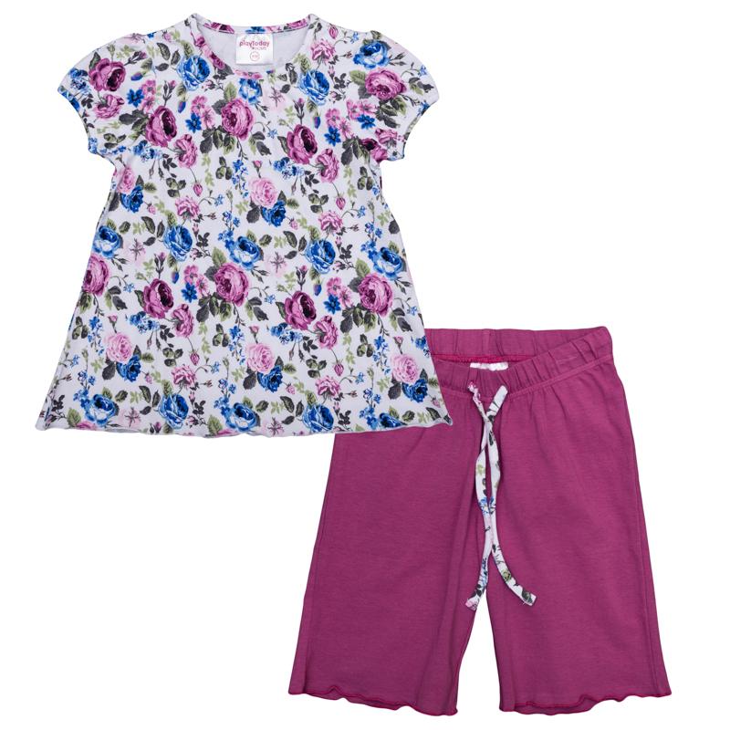 366004Уютный комплект из футболки и шорт. Футболка украшена нежжным цветочным принтом, рукава-фонарики придают кокетства. Пояс шорт на мягкой резинке, дополнительно регулируется шнурком.