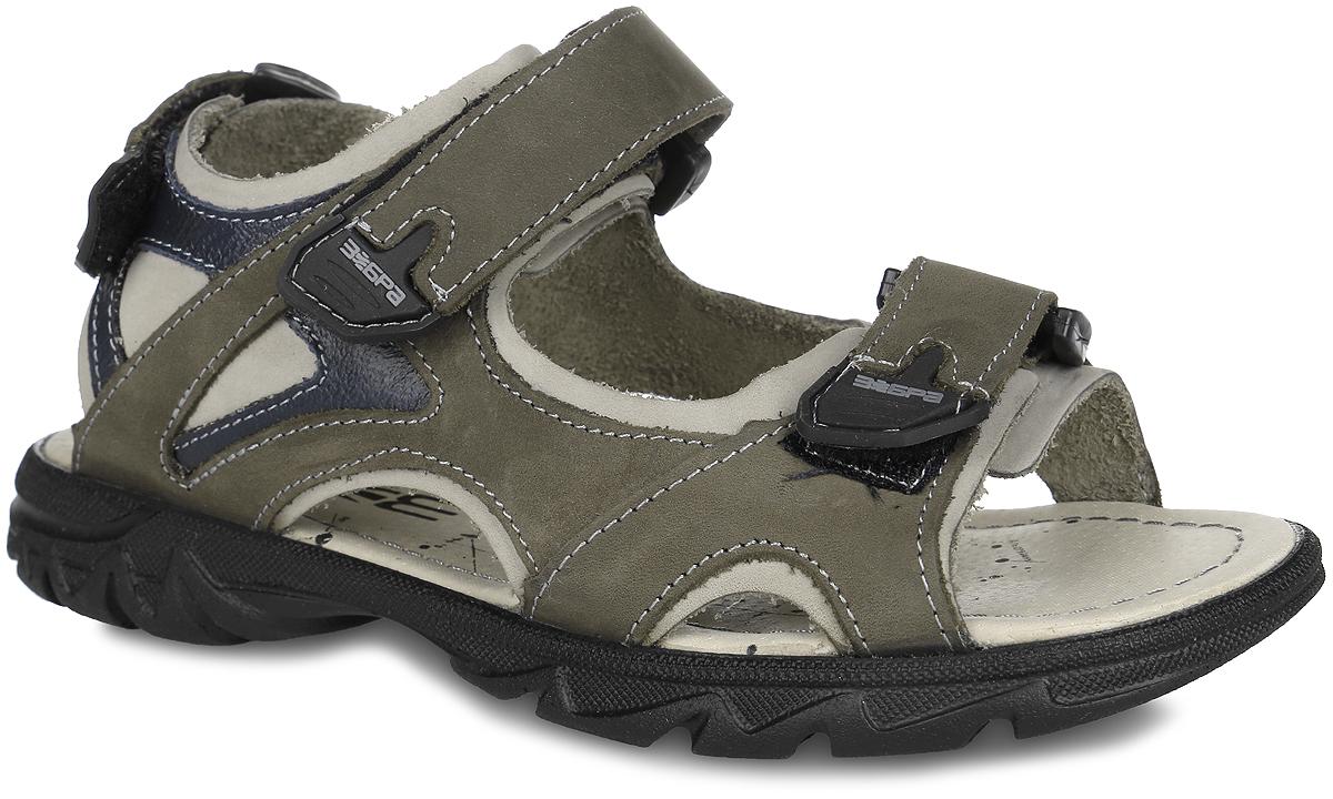 10643-3/10643-3Стильные и практичные сандалии от Зебра придутся по душе вашему ребенку и идеально подойдут для повседневной носки в летнюю погоду! Модель, выполненная полностью из натуральной кожи, оформлена прострочкой и вставками из ПВХ на ремешках. Ремешки с застежками-липучками обеспечивают надежную фиксацию модели на ноге. Внутренняя поверхность и стелька из натуральной кожи комфортны при ходьбе. Подошва с рифлением гарантирует отличное сцепление с любой поверхностью. Стильные сандалии - незаменимая вещь в гардеробе каждого мальчика!
