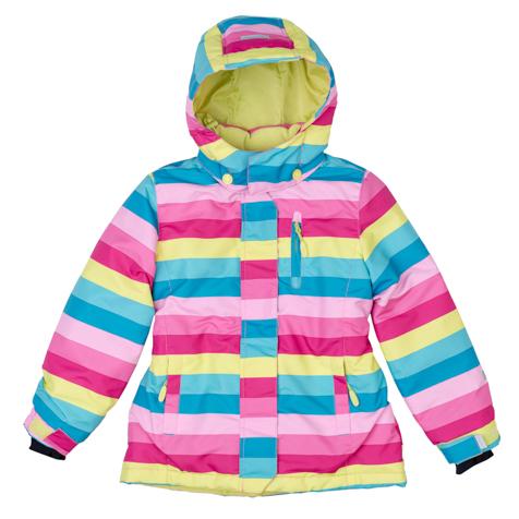 Куртка для девочек. 369002369002Яркая полосатая куртка из непромокаемой плащевки. Создана с учетом всех фишек горнолыжной одежды. Застегивается на молнию с защитой подбородка, есть ветрозащитная планка на липучках, как в спортивной одежде. Внутри уютная флисовая подкладка. Капюшон на кнопках, на воротнике застегивается на липучки. Три функциональных кармана на молнии. Внутри есть специальная ветрозащитная юбочка, застегнув которую вы надежно защитите ребенка от снега, дождя и ветра. Низ куртки утягивается стопперами. На рукавах трикотажные манжеты с отверстием под палец.