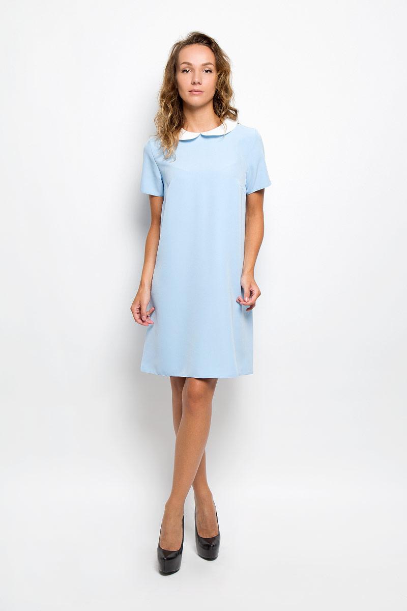 Платье13839Элегантное платье F5 выполнено из высококачественного комбинированного материала. Такое платье обеспечит вам комфорт и удобство при носке и непременно вызовет восхищение у окружающих. Модель средней длины с короткими рукавами и отложным воротником выгодно подчеркнет все достоинства вашей фигуры. Сзади изделие застегивается на пуговичку. Изысканное платье-миди создаст обворожительный и неповторимый образ. Это модное и комфортное платье станет превосходным дополнением к вашему гардеробу, оно подарит вам удобство и поможет подчеркнуть ваш вкус и неповторимый стиль.