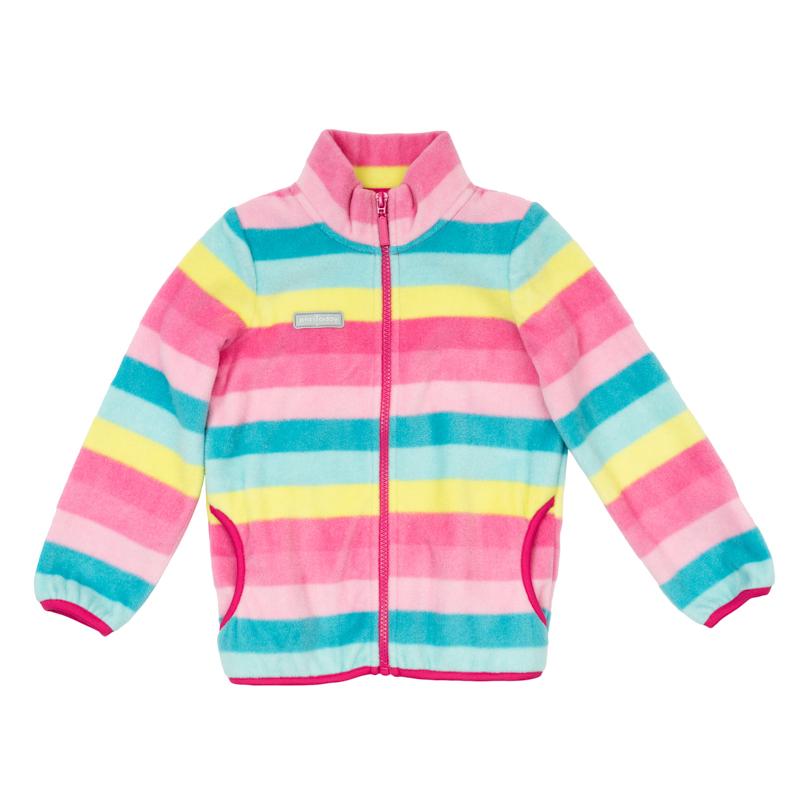 Куртка для девочек. 369004369004Уютная флисовая толстовка с длинными рукавами. Удобно застегивается на молнию. Украшена рисунком в яркую радужную полоску. Высокий воротник защитит от ветра, есть два функциональных кармана. Края обработаны эластичным кантом.