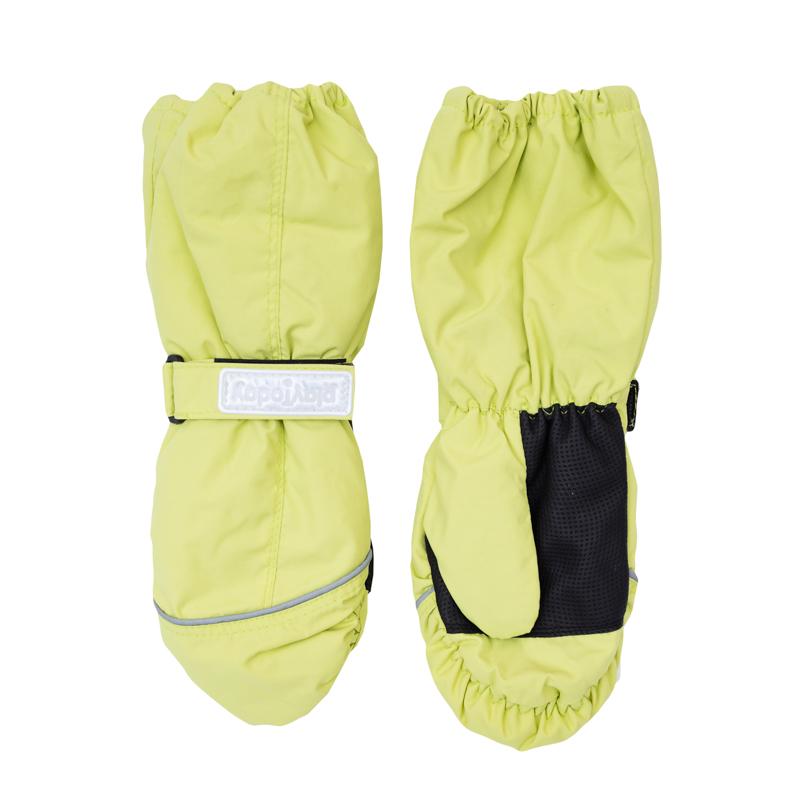 Рукавицы для девочек. 369025369025Яркие лимонно-лаймовые рукавицы. Утягиваются липучкой, верх на мягкой резинке. Внутри уютная флисовая подкладка. Усиленный антискользящий материал на ладошках.