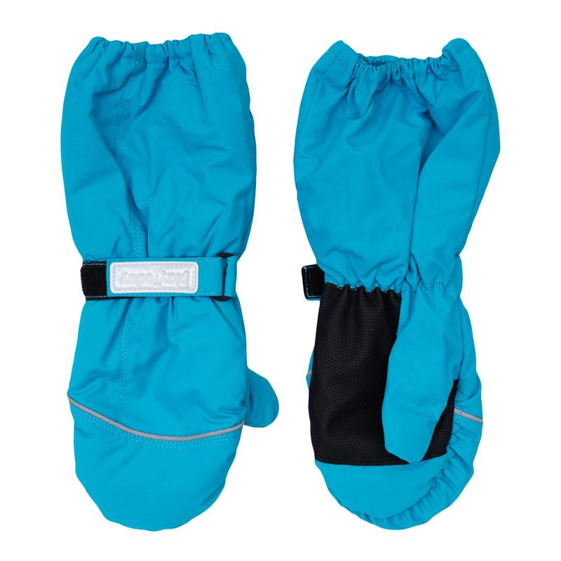 Рукавицы для девочек. 369026369026Яркие голубые рукавицы. Утягиваются липучкой, верх на мягкой резинке. Внутри уютная флисовая подкладка. Усиленный антискользящий материал на ладошках.