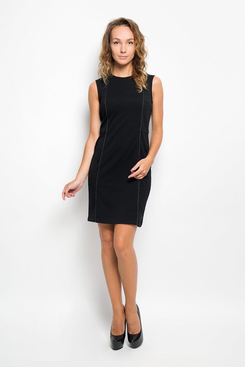 ПлатьеDksl-117/1016-6321Элегантное платье Sela выполнено из высококачественного комбинированного материала. Такое платье обеспечит вам комфорт и удобство при носке и непременно вызовет восхищение у окружающих. Модель средней длины с круглым вырезом горловины и без рукавов выгодно подчеркнет все достоинства вашей фигуры. Сзади изделие застегивается на потайную застежку-молнию. Изысканное платье-миди создаст обворожительный и неповторимый образ. Это модное и комфортное платье станет превосходным дополнением к вашему гардеробу, оно подарит вам удобство и поможет подчеркнуть ваш вкус и неповторимый стиль.