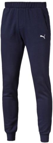 838266_01Спортивные брюки Puma ESS Sweat Pants Slim, Fl выполнены из мягкого трикотажа, флисовая внутренняя отделка. Модель декорирована вышитым логотипом Puma. Среди других отличительных особенностей изделия - пояс из его основного материала с продернутым затягивающимся шнуром, карманы в швах, нашитая сверху задняя кокетка для лучшей посадки в обтяжку по фигуре, а также отделка манжет по низу штанин трикотажем в резинку.