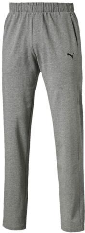 838267_01Спортивные брюки Puma выполнены из тонкой хлопковой ткани. Модель прямого кроя декорирована вышитым логотипом Puma. Среди других отличительных особенностей изделия - пояс из его основного материала с продернутым затягивающимся шнуром, карманы в швах, а также нашитая сверху задняя кокетка для лучшей посадки по фигуре.