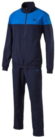 Спортивный костюм838587_01Спортивный костюм Puma Active Good Woven Suit, Op состоит из олимпийки и брюк. Костюм выполнен из 100% полиэстера. Олимпийка с воротником-стойкой и длинными рукавами застегивается на застежку-молнию. Низ рукавов и низ изделия дополнены эластичными манжетами. Спереди расположено два прорезных кармана на застежках-молниях. Брюки по талии дополнены эластичным поясом со шнурком-кулиской. В боковых швах обработаны втачные карманы. Комплект оформлен вышитым логотипом бренда.