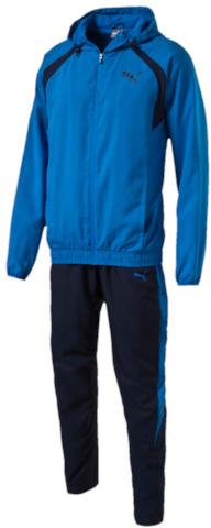 Спортивный костюм838601_33Спортивный костюм Puma выполнен из гладкого текстиля. Модель состоит из ветровки и брюк. Ветровка декорирована логотипом Puma, нанесенным методом пигментной печати, имеет капюшон с эластичными затягивающимися шнурами, завязки на манжетах и подол, отделанный эластичным материалом. Брюки также декорированы логотипом Puma, нанесенным методом пигментной печати, и фирменными лампасами, посажены на пояс из трикотажа в рубчик, имеют особый крой, облегчающий сгибание ноги в колене, и заднюю кокетку, обеспечивающую идеальную посадку по фигуре.