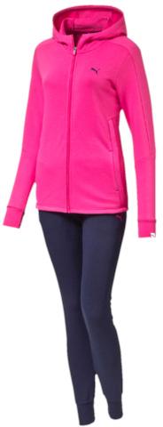 Спортивный костюм83862601Спортивный костюм Puma Style Best Sweat Suit W Cl состоит из толстовки и зауженных брюк, выполненных из плотного трикотажа. Костюм отлично подойдет для пробежек или прогулок на свежем воздухе. Толстовка декорирована графическим рисунком, нанесенным методом глянцевой печати, и вышитым логотипом Puma. Она имеет скрытые прорезные боковые карманы, манжеты из трикотажа в рубчик и удлиненный задний подол. Особую привлекательность модели придает оригинальный крой боковых швов. Брюки декорированы вышитым логотипом Puma и фирменными лампасами. Пояс из трикотажа в резинку снабжен затягивающимися шнурами, манжеты внизу штанин отделаны трикотажем в рубчик, а задняя кокетка обеспечивает идеальную посадку в обтяжку по фигуре.