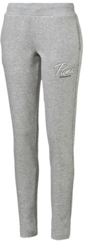 839131_04Спортивные брюки выполнены из высококачественного материала. Модель декорирована набивным рисунком, скомбинированным из замши и элементов, нанесенных напылением, имеет штанины с подгибом, но без утягивающих манжет и отлично сидит по фигуре.