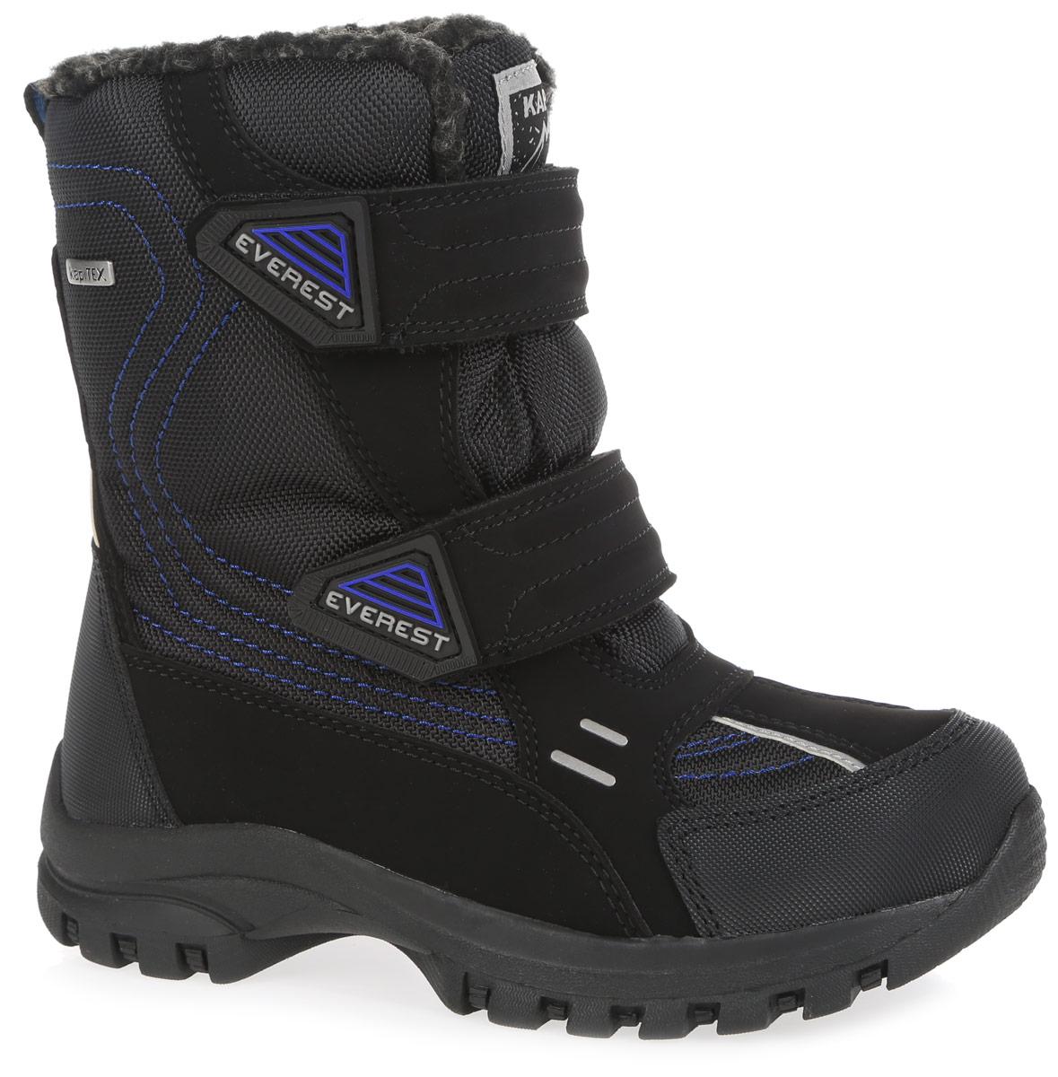 Ботинки для мальчика. 43168-143168-1Модные утепленные ботинки от Kapika согреют ноги вашего мальчика в холодную погоду. Ботинки, выполненные из искусственной кожи и плотного текстиля, оформлены контрастной прострочкой и светоотражающими вставками, на язычке - фирменной нашивкой. Мембрана защитит обувь от промокания, обеспечит своевременное отведением естественного испарения тела и сохранение комфортного микроклимата внутри обуви. Подкладка из искусственного меха и натуральной шерсти не даст ногам замерзнуть. Стелька из искусственного меха обеспечит тепло и циркуляцию воздуха. Ремешки с застежками-липучками, оформленные нашивками из ПВХ, надежно зафиксируют изделие на ноге. Подошва с протектором обеспечивает отличное сцепление с любой поверхностью. Стильные ботинки - незаменимая вещь в гардеробе каждого мальчика!