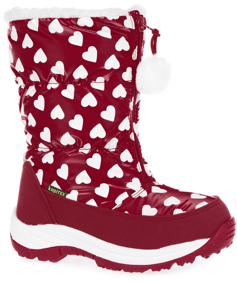 Дутики для девочки. 43145-343145-3Модные дутики от Kapika приведут в восторг вашу девочку! Дутики, выполненные из искусственной кожи и водонепроницаемого текстиля, оформлены принтом в виде сердечек. Мембрана защитит обувь от промокания, обеспечит своевременное отведением естественного испарения тела и сохранение комфортного микроклимата внутри обуви. Подкладка и стелька из искусственного меха и натуральной шерсти обеспечат тепло и циркуляцию воздуха. Застежка- молния, расположенная спереди, позволяет легко снимать и надевать модель. Подошва с протектором обеспечивает отличное сцепление с любой поверхностью. Стильные дутики - незаменимая вещь в гардеробе каждой девочки!