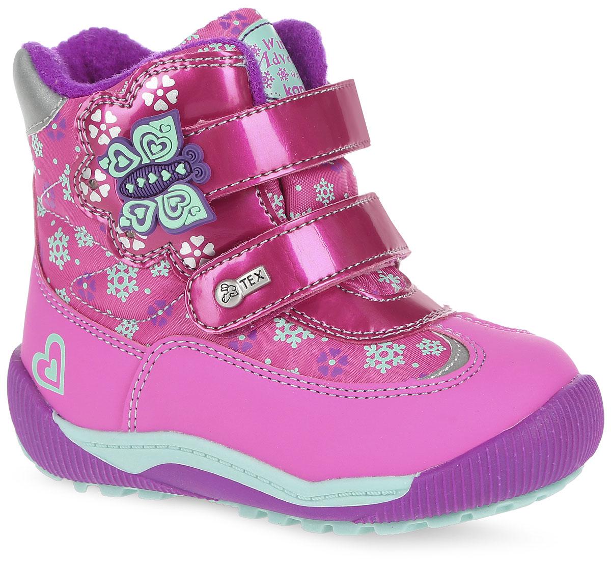 41154-2Удобные высокие ботинки от Kapika придутся по душе вашей дочурке! Модель изготовлена из искусственной кожи и плотного текстиля с применением мембраны. Мембранная обувь называется дышащей, защищает от влаги, своевременно отводит естественные испарения тела и сохраняет комфортный микроклимат при ношении. Изделие оформлено принтом с изображением снежинок и цветов, прострочкой, на язычке - фирменной нашивкой, на ремешках - объёмной аппликацией из ПВХ виде бабочки и металлическим элементом логотипа бренда. Два ремешка на застежках-липучках надежно фиксируют изделие на ноге. Мягкая подкладка и стелька исполненные из текстиля, на 80% состоящего из натурального овечьего шерстяного меха, обеспечивают тепло и надежно защищают от холода. Рифление на подошве гарантирует идеальное сцепление с любыми поверхностями. Стильные ботинки займут достойное место в гардеробе вашего ребенка, они идеально подойдут для теплой зимы, а также поздней осени и ранней весны.