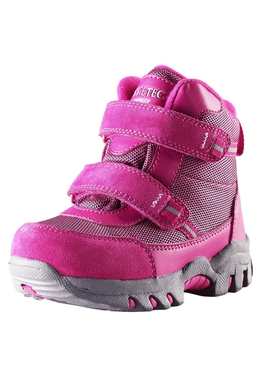 Ботинки детские. 769097769097-3380Удобные ботинки от фирмы Reima - идеальный вариант для долгих прогулок. Модель выполнена из плотного фактурного текстиля, искусственной кожи и натуральной замши. Ботинки оформлены декоративной нашивкой со светоотражателями и фирменной нашивкой на язычке. Носок и задник изделия дополнены нашивками для улучшения сохранности обуви. Модель фиксируется на ноге с помощью удобных ремешков с застежками-липучками. Ярлычок на заднике облегчает надевание обуви. Внутренняя поверхность, выполненная из текстиля, убережет ножки от холода. Легкая и прочная подошва выполнена из искусственных материалов, а ее рифленая поверхность обеспечит отличное сцепление с любой поверхностью. Теплые и удобные ботинки - незаменимая вещь в гардеробе вашего ребенка.