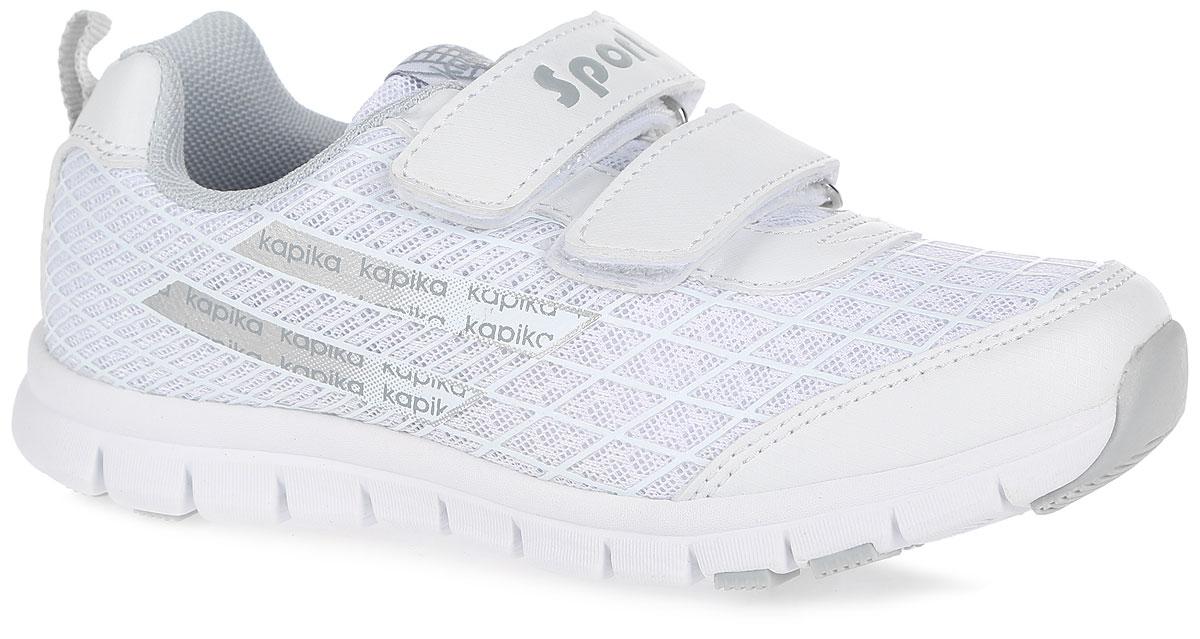 Кроссовки для девочки. 73204-373204-3Оригинальные кроссовки от Kapika заинтересуют вашу маленькую модницу с первого взгляда. Модель выполнена из дышащего сетчатого текстиля и искусственной кожи. Кроссовки оформлены оригинальным фирменным принтом. Язычок оформлен накладкой с названием фирмы. На ноге модель фиксируется с помощью удобных ремешков на застежках-липучках, одна из которых оформлена надписью Sport. Ярлычок на заднике облегчает обувание модели. Мягкий манжет создает комфорт при ходьбе и предотвращает натирание ножки ребенка. Стелька из натуральной кожи дополнена небольшим супинатором с перфорацией, который обеспечивает правильное положение стопы ребенка при ходьбе и предотвращает плоскостопие. Легкая и гибкая подошва из ЭВА-материала обеспечивает отличную амортизацию и поглощение ударов. Вставки из ТЭП-материала гарантирует отличное сцепление с любой поверхностью. Такие модные и практичные кроссовки займут достойное место в гардеробе вашей девочки.