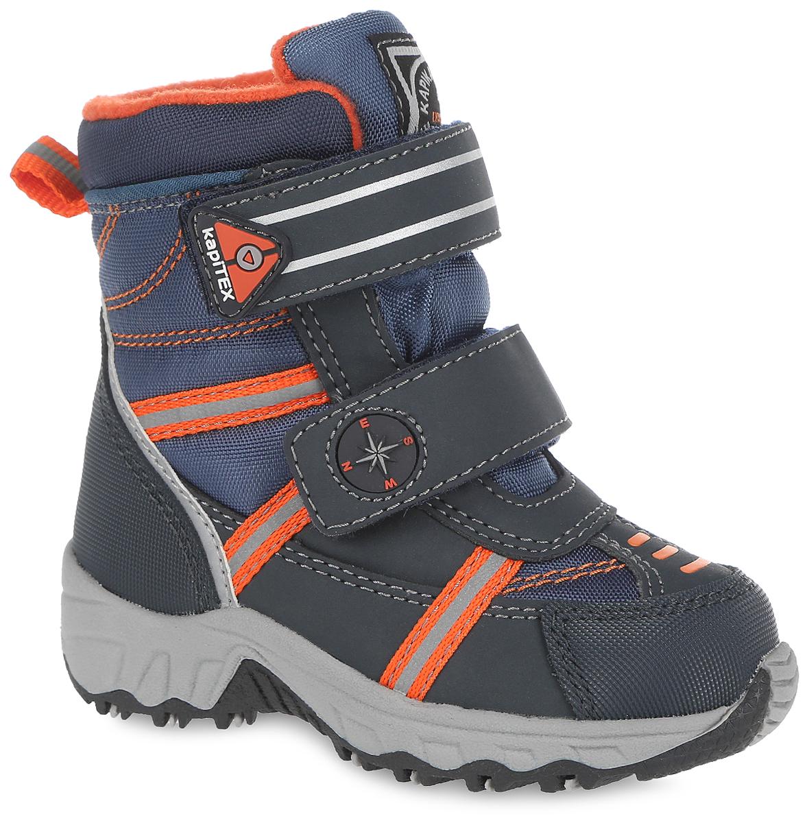 Ботинки для мальчика. 41131-141131-1Стильные ботинки от Kapika заинтересуют вашего мальчика с первого взгляда. Ботинки выполнены из искусственной кожи и плотного текстиля. Модель оформлена оригинальными нашивками и прострочкой. Передняя и задняя части дополнены накладками для уменьшения износа обуви. Модель фиксируется на ноге с помощью удобных ремешков с застежками-липучками, которые оформлены оригинальными вставками. Ярлычок на заднике облегчает надевание обуви. Мягкий манжет и внутренняя поверхность из текстиля создают комфорт при ходьбе и предотвращают натирание ножки ребенка. Подкладка и стелька на 80% состоят из натуральной шерсти и обеспечат ножкам тепло и уют. Подошва изготовлена из прочного и легкого ТЭП-материала, а ее рифленая поверхность гарантирует отличное сцепление с любой поверхностью. Стильные и практичные ботинки займут достойное место в гардеробе вашего ребенка.