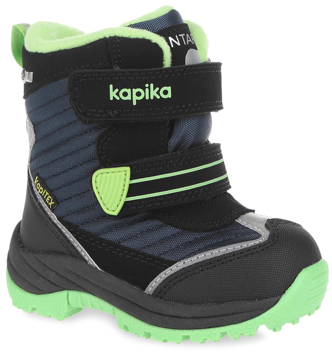 Ботинки для мальчика. 41135-141135-1Теплые ботинки от Kapika заинтересуют вашего мальчика с первого взгляда. Ботинки выполнены из искусственной кожи с вставками из текстиля. Модель оформлена прострочками и фирменными нашивками. Передняя и задняя части дополнены накладками для уменьшения износа обуви. Модель фиксируется на ноге с помощью удобных ремешков с застежками-липучками. Ярлычок на заднике облегчает надевание обуви. Подошва изготовлена из прочного и легкого ТЭП-материала, а ее рифленая поверхность гарантирует отличное сцепление с любой поверхностью. Стильные и практичные ботинки займут достойное место в гардеробе вашего ребенка.