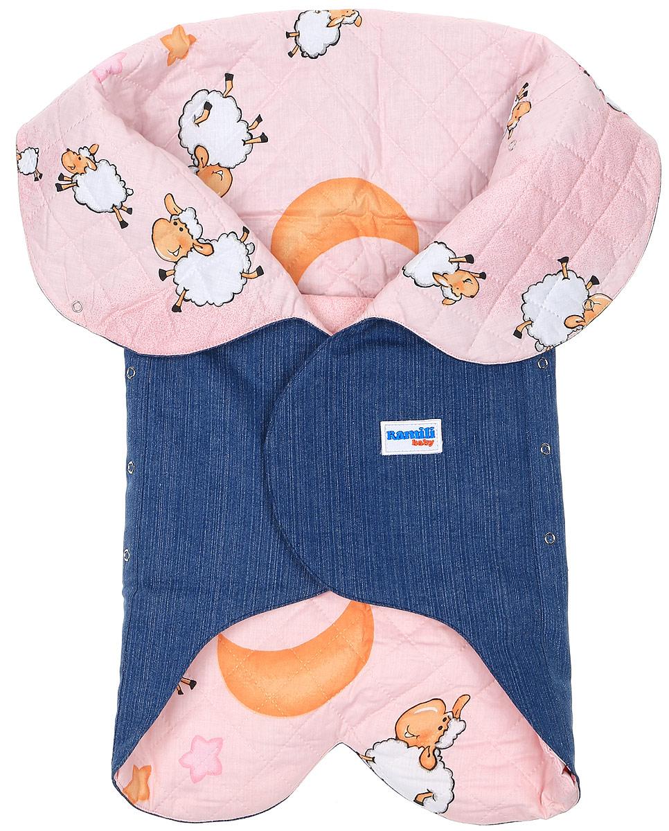 Конверт для новорожденногоKRLDS02Конверт-лепесток для новорожденного Ramili Denim Style станет замечательным дополнением к детскому гардеробу. Снаружи конверта используется высококачественная джинсовая ткань, внутри - хлопок на мягком утеплителе. Материал тактильно приятный, не раздражает нежную кожу ребенка. На конверте предусмотрен карман для ножек малышки, который фиксируется на застежки-кнопки. Верхняя часть конверта с помощью кнопок образует капюшон. Изделие легко раскладывается, благодаря чему его можно использовать в качестве коврика для пеленания или игр. Застежки в виде липучек и кнопок позволяют быстро зафиксировать конверт и обеспечивают надежное облегание, которое не ограничивает движения ребенка и подарит ему чувство тепла, комфорта и защищенности. Модель оформлена с внутренней стороны принтом с изображением забавных овечек, с внешней украшена фирменной нашивкой. Многофункциональный и удобный конверт идеально подойдет для первых месяцев жизни младенца. В таком современном...