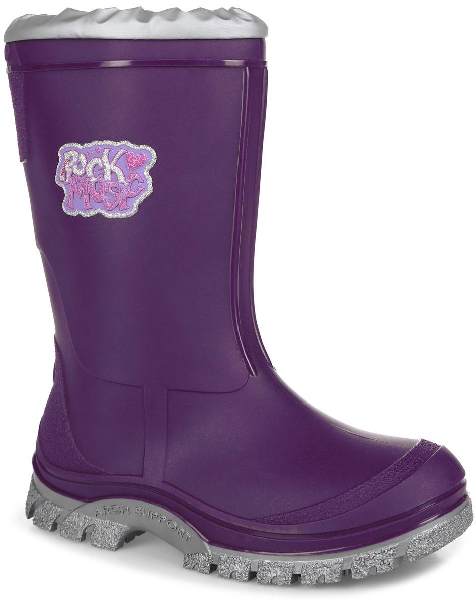 Резиновые сапоги для девочки. 554554Стильные резиновые сапоги от Kapika превосходно защитят ноги вашей девочки от промокания в дождливый день. Сапоги выполнены из качественного ПВХ и оформлены оригинальной накладкой. Сапоги дополнены съемной утепленной текстильной подкладкой, которая обеспечивает полный уют и комфорт при носке. Также сапоги имеют верх из водонепроницаемого текстиля, который не пропускает жидкость внутрь благодаря резинке. Рифление подошвы гарантирует отличное сцепление с любой поверхностью. При движении подошва начинает светиться, благодаря чему вы всегда будете видеть вашего ребенка. Такие практичные резиновые сапоги займут достойное место в гардеробе вашего ребенка.