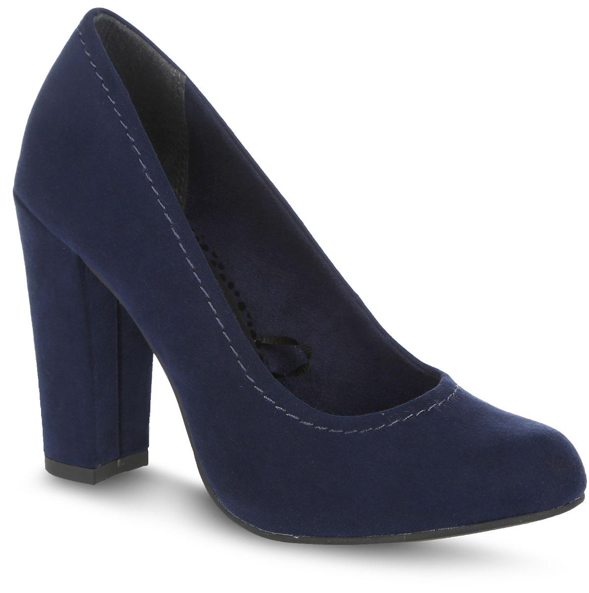 Туфли женские. 2-2-22416-27-8052-2-22416-27-805Стильные туфли от Marco Tozzi не оставят равнодушной настоящую модницу! Модель выполнена из текстиля и оформлена вдоль канта крупной прострочкой. Закругленный носок добавляет женственности в образ. Подкладка из текстиля не натирает. Стелька из искусственной кожи комфортна при движении. Высокий каблук невероятно устойчив. Подошва с рифлением обеспечивает отличное сцепление с любой поверхностью. Элегантные туфли внесут изысканные нотки в ваш образ и подчеркнут вашу утонченную натуру.