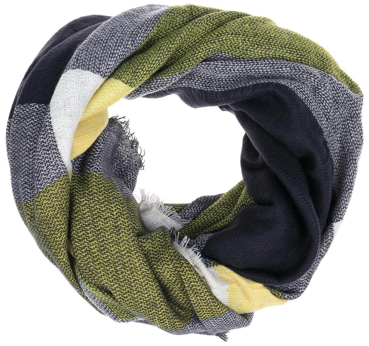 B310_Grey-Yellow CheckedСтильный женский платок Baon станет великолепным завершением любого наряда. Платок изготовлен из высококачественного акрила с добавлением шерсти и оформлен оригинальными принтом в клетку. По краям платок оформлен тонкой бахромой. Легкий, теплый, мягкий и шелковистый платок поможет вам создать изысканный женственный образ, а также согреет в непогоду. Такой платок превосходно дополнит любой наряд и подчеркнет ваш неповторимый вкус и элегантность.