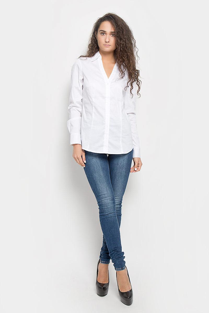 MX3022462_WM_BLG_000Стильная женская блузка Mexx, изготовленная из эластичного хлопка с добавлением полиамида, подчеркнет ваш уникальный стиль. Материал изделия тактильно приятный, не сковывает движения и хорошо пропускает воздух. Приталенная блузка с отложным воротником и длинными рукавами застегивается спереди на пуговицы. На манжетах предусмотрены застежки-пуговицы. Блузка будет дарить вам комфорт в течение всего дня и послужит замечательным дополнением к вашему гардеробу.