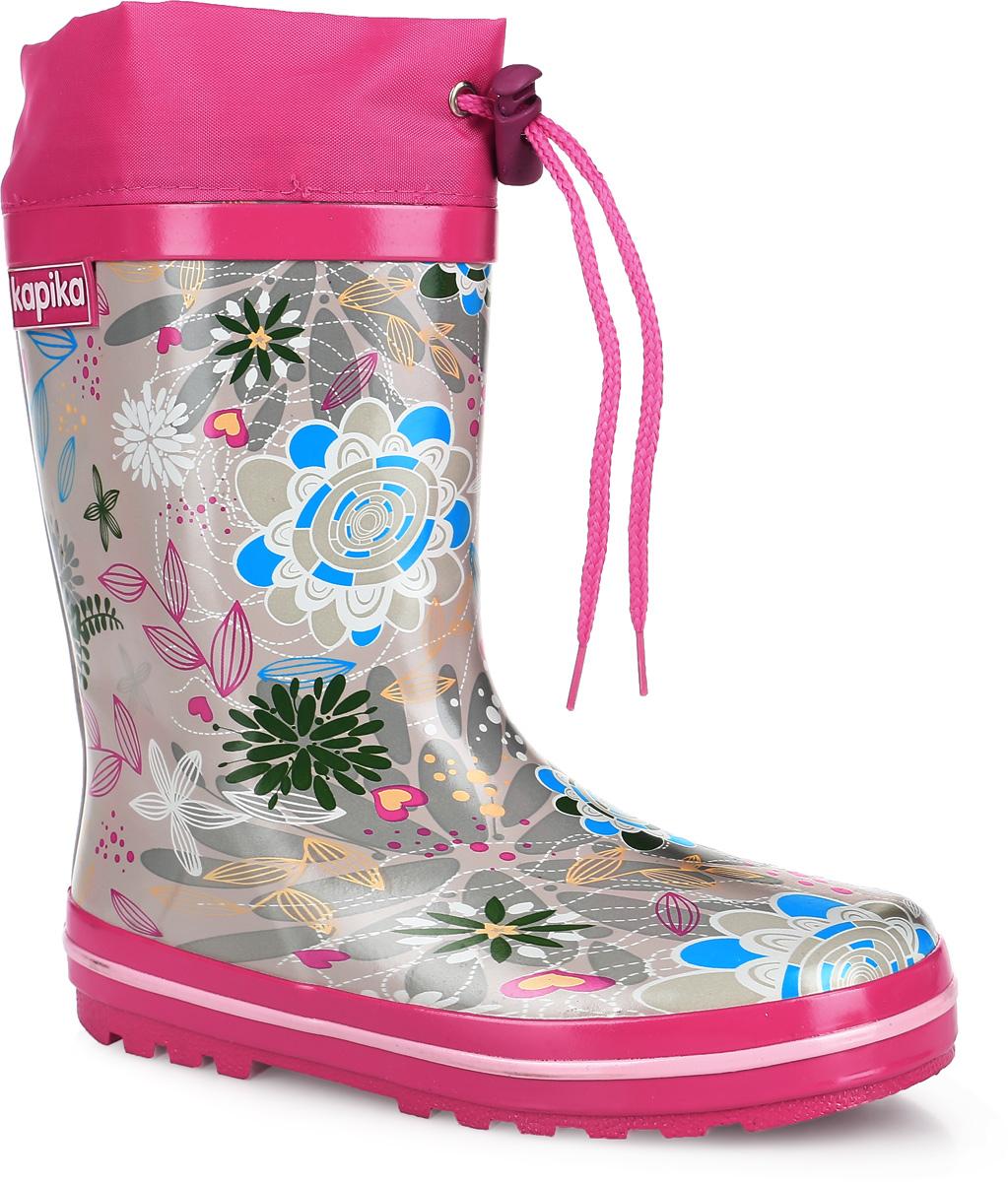 622Утепленные резиновые сапоги от Kapika - идеальная обувь в дождливую погоду. Сапоги выполнены из резины и оформлены цветочным принтом. Подкладка и съемная стелька из мягкого текстиля не дадут ногам замерзнуть. Текстильный верх голенища регулируется в объеме за счет шнурка со стоппером. Рельефная поверхность подошвы гарантирует отличное сцепление с любой поверхностью. Резиновые сапоги защитят ноги вашего ребенка от промокания в дождливый день.