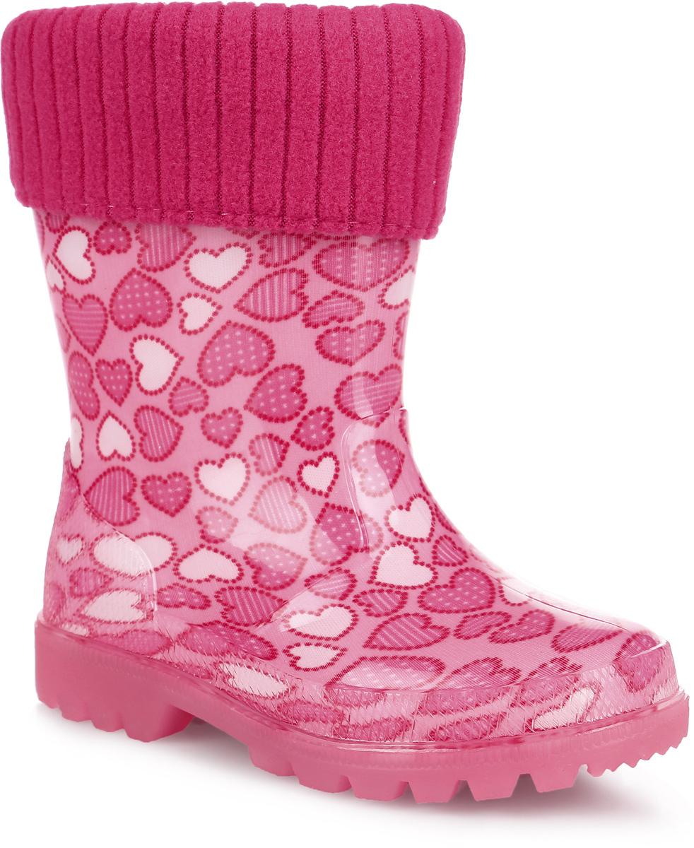 Сапоги резиновые для девочки. 691т691Яркие резиновые сапоги от Kapika придутся по душе вам и вашей девочке! Модель изготовлена из ПВХ (поливинилхлорида) и оформлена изображением сердечек. Ширина голенища компенсирует отсутствие застежек. Обувь имеет съемный носок из текстиля с содержанием хлопка 80%, оснащенный отворотом, который не даст ногам замерзнуть. Подошва с глубоким рисунком протектора обеспечивает отличное сцепление на любой поверхности. Подошва оснащена светодиодами, которые подарят вашей девочке хорошее настроение и повысят ее безопасность в темное время суток. Яркие резиновые сапоги - незаменимая обувь в дождливую погоду!