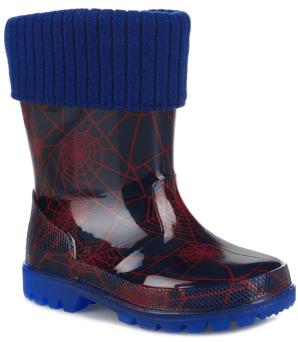 690Резиновые сапоги от Kapika превосходно защитят ноги вашей девочки от промокания в дождливый день. Модель выполнена из ПВХ и оформлена оригинальным принтом паутина. Мягкий вынимающийся сапожок из утепленного текстильного материала - хлопка (80%) не даст ногам замерзнуть и обеспечит уют. Рельефная поверхность подошвы гарантирует отличное сцепление с любой поверхностью. При движении подошва начинает светиться, благодаря чему ваш ребенок будет на виду даже в темное время суток. Резиновые сапоги - идеальная обувь в дождливую погоду.