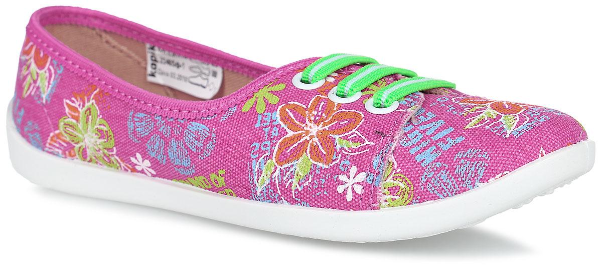 23405ф-1Кеды от Kapika изготовлены из качественного текстиля и оформлены оригинальным цветочным принтом. Модель дополнена эластичными резинками на передней части для удобства надевания обуви. Подкладка выполнена из мягкого текстиля. Стелька из натуральной кожи дополнена супинатором с перфорацией, который обеспечивает правильное положение ноги ребенка при ходьбе и предотвращает плоскостопие. Подошва выполнена из легкого и гибкого полимерного материала, а ее рифление гарантирует отличное сцепление с любой поверхностью.