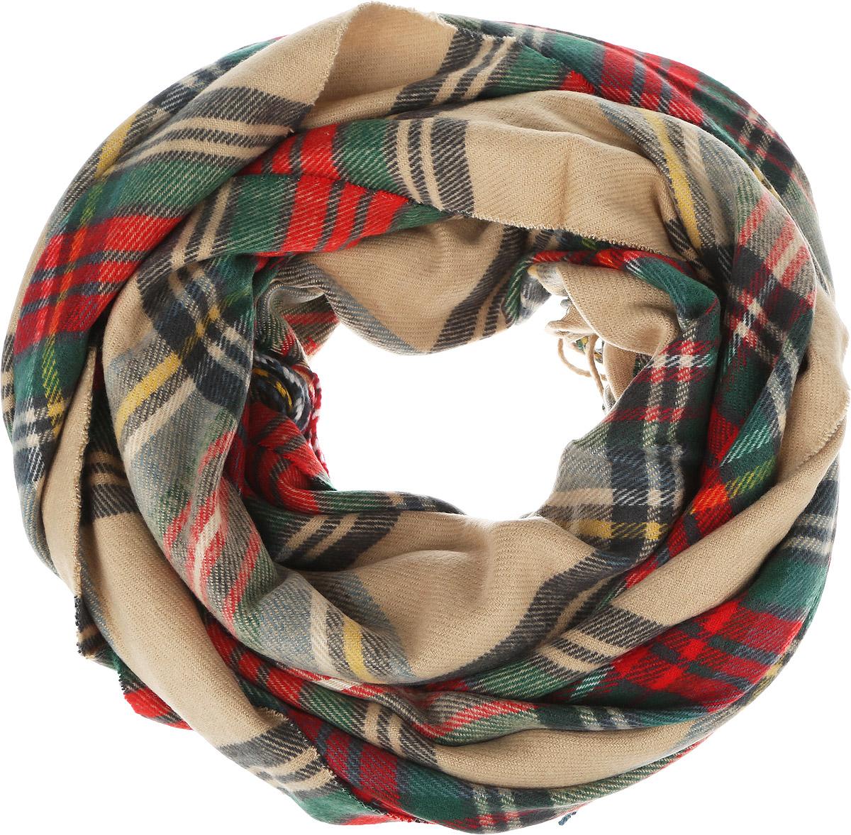 Шарф женский. B301B301_Sage-BeigeСтильный женский шарф Baon станет великолепным завершением любого наряда. Шарф изготовлен из высококачественного акрила с добавлением шерсти и оформлен классическим принтом в крупную клетку. По краям шарф оформлен тонкой бахромой. Широкий, теплый, мягкий и шелковистый шарф поможет вам создать изысканный женственный образ, а также согреет в непогоду.