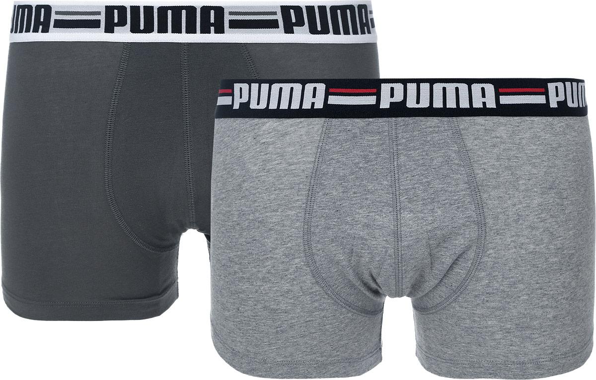 Трусы-боксеры мужские Brand, 2 шт. 90607390607301Мужские трусы-боксеры Puma Brand с широкой эластичной резинкой на поясе созданы специально для тех, кто предпочитает комфорт и классический дизайн. Модель оформлена логотипом бренда на резинке. Мягкие, приятные на ощупь, эти трусы подходят к любой фигуре и будут незаметны под одеждой. Трусы выполнены из высококачественного эластичного хлопка, благодаря чему великолепно пропускают воздух, позволяя коже дышать, а удобные плоские швы исключают риск натирания. Модель создана для мужчин, ценящих практичность и удобство. В комплекте 2 трусов.