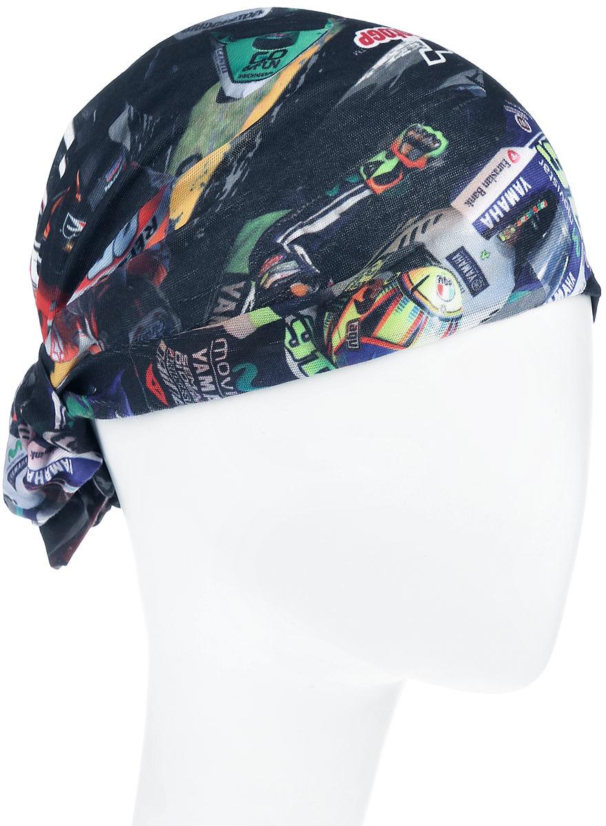 Бандана Original Riders. 110912.00110912.00Многофункциональная бандана Buff Original Riders, выполнена из мягкой микрофибры, защищает от ветра, пыли, влаги и ультрафиолета. Материал изделия контролирует микроклимат в холодную и теплую погоду, отводит влагу. Ткань обработана ионами серебра, обеспечивающими длительный антибактериальный эффект и предотвращающими появление запаха. Материал не теряет цвет и эластичность, не требует глажки. Бесшовная бандана-труба оформлена оригинальным принтом в виде изображения гонки на мотоциклах и дополнена фирменным логотипом. Модель можно носить на шее и на голове, как шейный платок, маску, бандану, шапку и подшлемник. Изделие очень эластично и принимает практически любую форму. Свойства материала позволяют использовать бандану в любое время года, при занятиях любым видом спорта, активного отдыха, туризма или рыбалки.