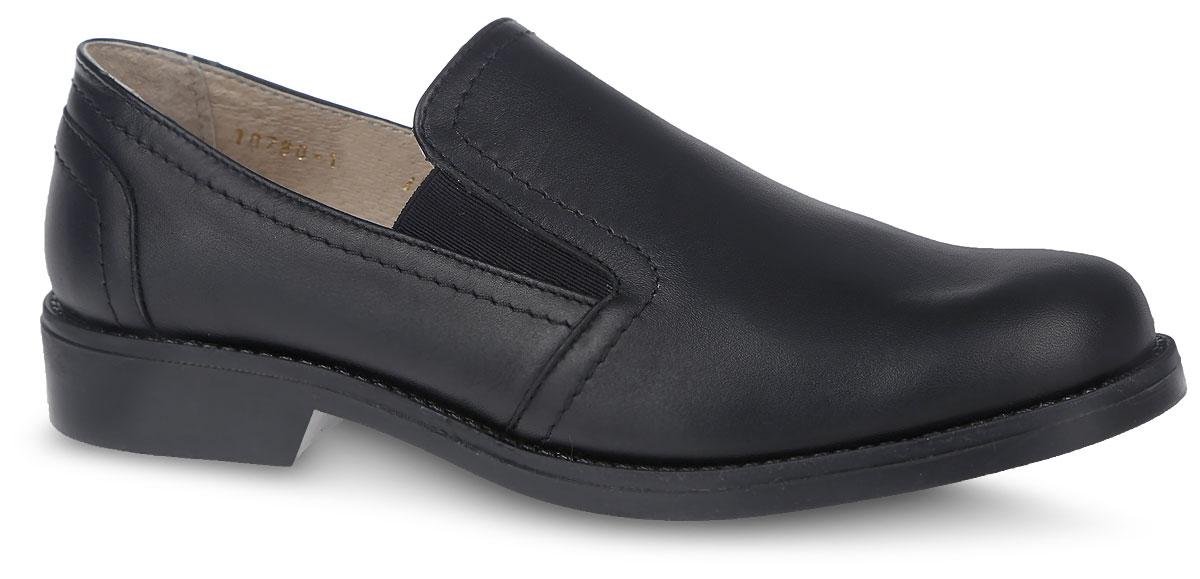 Туфли для мальчика. 10780-110780-1Замечательные туфли для мальчика от фирмы Зебра, оформленные прострочкой, выполнены из натуральной кожи. Модель с полукруглым мыском и эластичными вставками, на тонкой подошве и с небольшим каблуком, будет уместно смотреться с брюками или классическими джинсами, идеальный вариант для школы. Подкладка выполнена из натуральной кожи комфортна при движении. Стелька с супинатором, выполненная из натуральной кожи, обеспечивает правильное положение ноги ребенка при ходьбе, предотвращает плоскостопие. Подошва выполнена из гибкого, не скользящего материала и обеспечивает надежное сцепление с поверхностью. В такой обуви ножкам вашего маленького мужчины всегда будет комфортно и уютно.