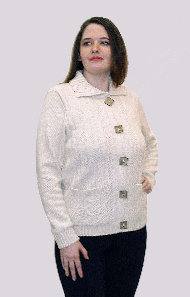 Кофтаw165Стильная женская кофта от Milana Style выполненная из качественной пряжи отлично дополнит ваш образ. Модель с отложным воротником и длинными рукавами. Кофта застегивается на пуговицы и дополнена двумя накладными карманами. Рукава и низ изделия связаны резинкой.